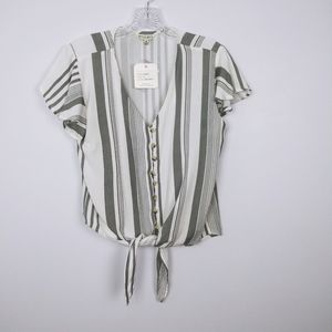Style Envy gray and white stripped tie front top